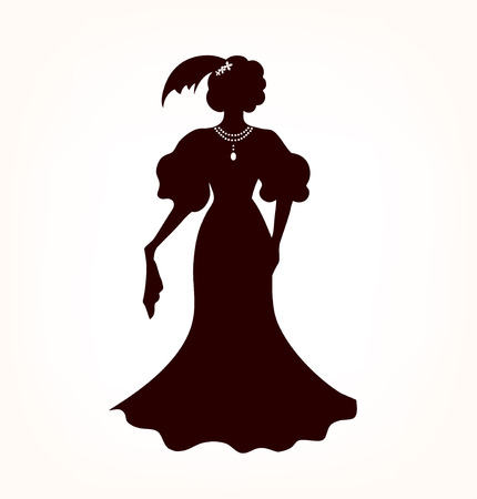historical romance: Image of romantic aristocratic woman  Black woman s silhouette in retro style