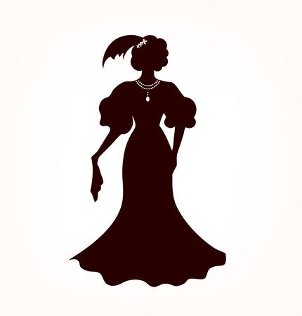 aristocrático: Imagen de la silueta de la mujer aristocr�tica mujer rom�ntica Negro s en estilo retro Vectores