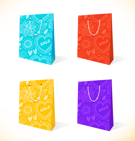 paperbag: Vector set with isolated pockets  Ornamental paper-bag  Pack, package, parcel  Shopping symbol