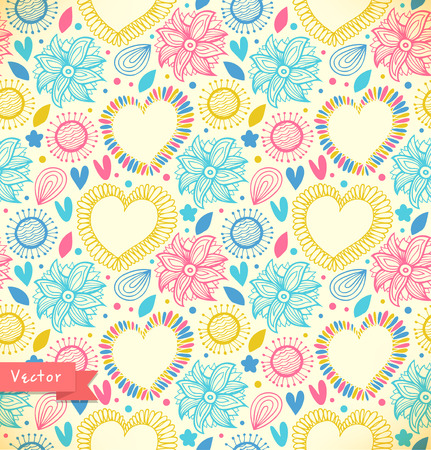 Floral decorative seamless pattern  Doodle vector background with hearts and flowers  Fabric vintage texture  Spring style