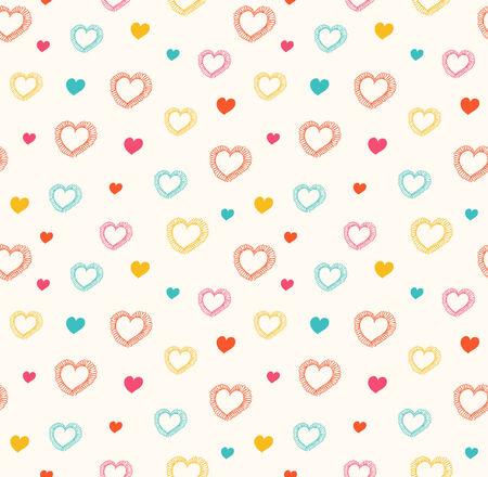 Cute doodle seamless pattern with hearts  Decorative holiday texture  Vector