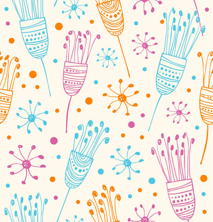 Seamless floral pattern  Abstract background with flowers  Decorative cute doodle texture Illustration