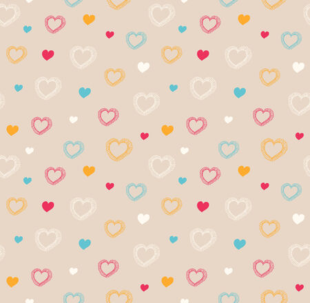 Cute seamless pattern with hearts  Decorative love texture  Vector