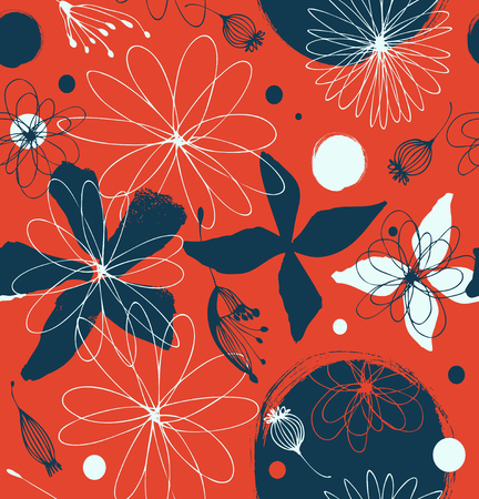 Red seamless pattern with drawn flowers  Cute contrast background  Beauty decorative pattern
