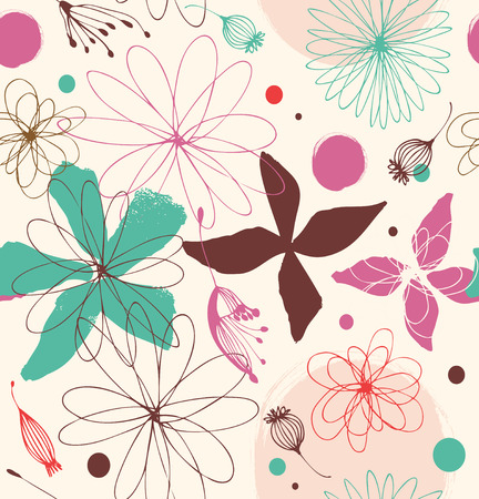Seamless romantic pattern with drawn flowers  Cute background  Beauty decorative lace pattern