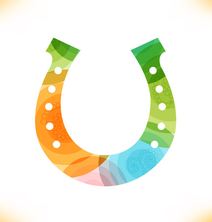Vector multicolor hoefijzer Illustratie op een witte achtergrond voor ontwerp Symbool van geluk Stock Illustratie