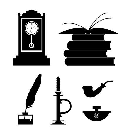 Set of aristocratic symbols  Icon collection of black contour silhouettes