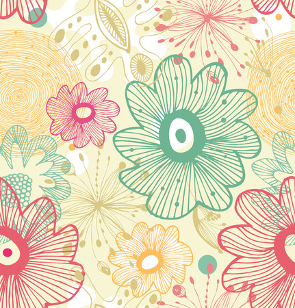 Seamless decorative abstract pattern  Doodle floral background