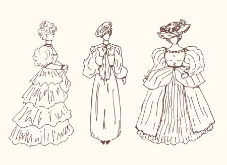 mode: Sketchy vintage women silhouettes Retro collection of stylish girls Illustration
