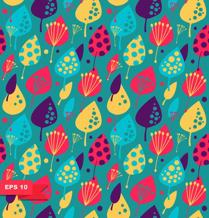 Cute floral background  Colorful seamless pattern with decorative leafs.  Fabric texture Illustration