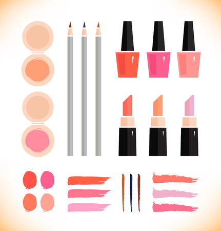 Make up vector icons set.  Beauty fashion collection of various make up accessories on white background.  Lipstick, powder, enamel, eyeliner Vector