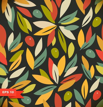 olive oil: Autumn Floral seamless background Illustration