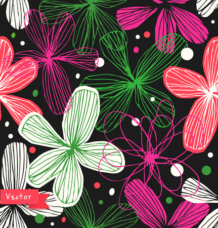 Floral decorative seamless pattern. Colorful beautiful background with elegant flowers. Template for textile, wallpapers, curtains, wrapping papers
