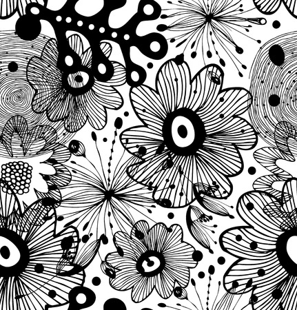Black and white seamless decorative abstract pattern. Ornate abstract background Illustration