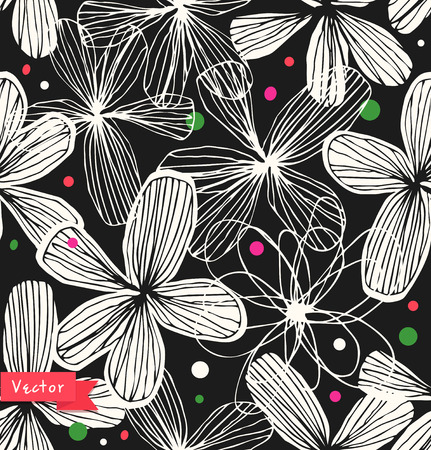 Cute decorative seamless pattern. Beautiful linear background with elegant flowers. Template for textile, wallpapers, curtains, wrapping papers. Adorable floral backdrop