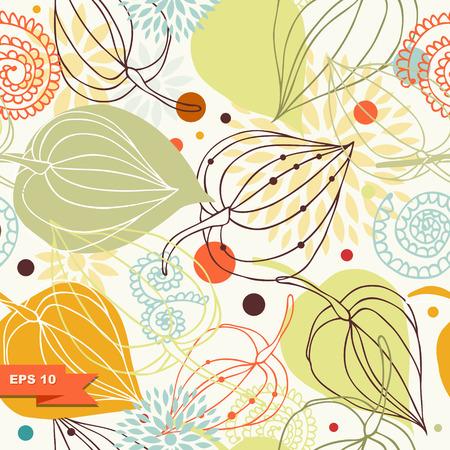 Autumn mix. Floral seamless pattern. Lace background with flowers. Light ornamental background Ilustração