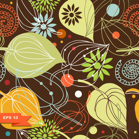 Colorful autumn mix. Nature seamless pattern. Cute background with flowers. Funny ornamental background Illustration