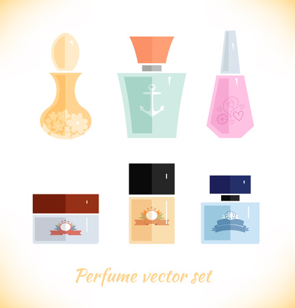 Perfume vector set. Beauty fashion collection on white background Illustration