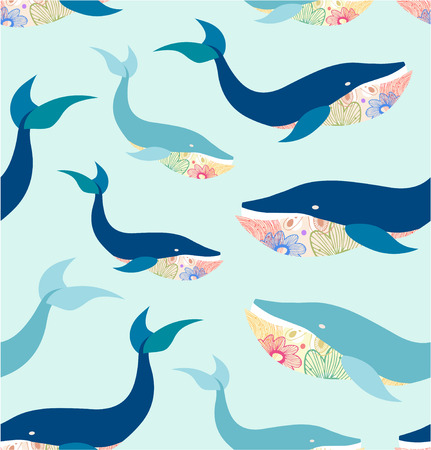 Marine seamless pattern with whales, cute background Vector