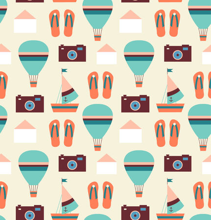 Holiday traveler pattern. Seamless adventure background in retro style. Hipster backdrop Illustration