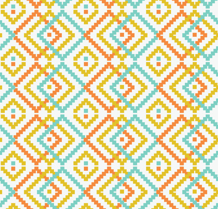 foursquare: Decorative seamless texture in traditional bright colors. Light countryside background