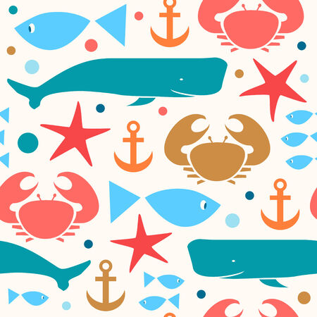 sperm whale: Decorative bright seamless marine pattern. Cute background with crab, fiddler crab, fish, cachalot, sperm-whale , whale, anchor Illustration