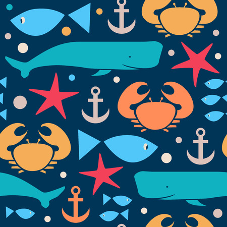 Decorative seamless marine pattern. Background with crab, fiddler crab, fish, cachalot, sperm-whale , whale, anchor