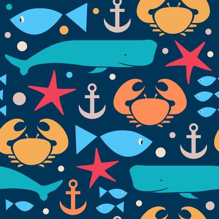 espermatozoides: Decorativo marina modelo sin fisuras. Fondo con cangrejo, cangrejo violinista, pescado, cachalote, cachalote, ballena, ancla