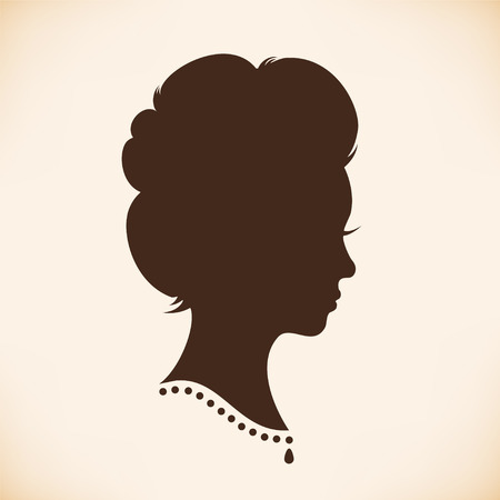 18th century style: Retro woman head silhouette. Vector Isolated woman half face. Vintage lady portrait. Contour image of head