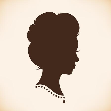 mujeres negras: Silueta principal Retro mujer. Vector Aislado Mujer mitad de la cara. Retrato de la se�ora de la vendimia. Imagen del contorno de la cabeza