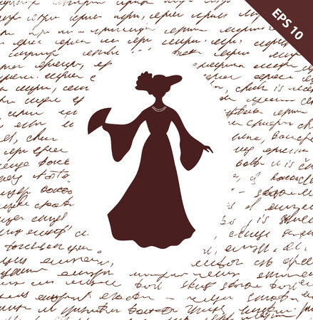 Script seamless background with romantic aristocratic woman. Woman\\\\ Vector