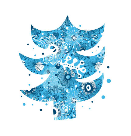 ard: Beautiful decorative Christmas tree. Christmas ?ard template. Xmas banner with blue floral background Illustration