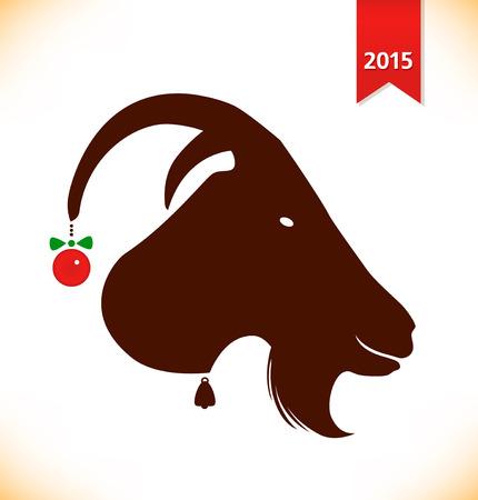 Symbol ot the year 2015. Black silhouette of she-goat head, nanny-goat, goat Illustration
