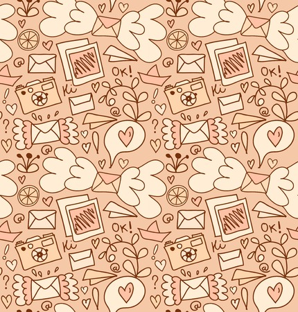 Seamless mail pattern. Cute post background with letters, camera, fruits, and other elements Illustration