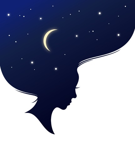 Isolated woman head with long hear looks like evening sky. Vintage banner Illustration
