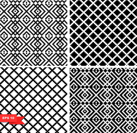 Decorative checkered black and white patterns set. Collection of vector geometric seamless background Illustration
