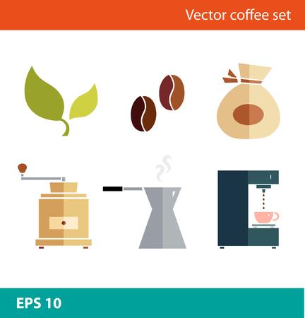Coffee vector flat set. Percolator, coffee-machine, coffee maker, coffee-grinder, coffee corns Illustration