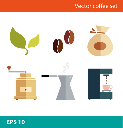 percolator: Coffee vector flat set. Percolator, coffee-machine, coffee maker, coffee-grinder, coffee corns Illustration