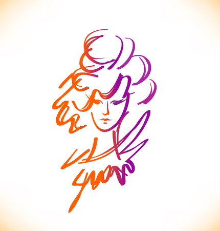 cartoon hairdresser: Beauty sketch of woman face. Romantic lady portrait. Vector image