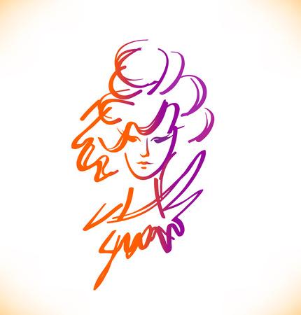 coiffeur: Beauty sketch of woman face. Romantic lady portrait. Vector image