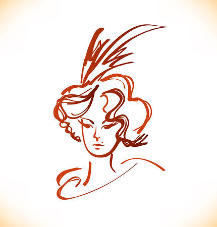 19th century: Sketch of woman face in vintage style. Vector  lady portrait