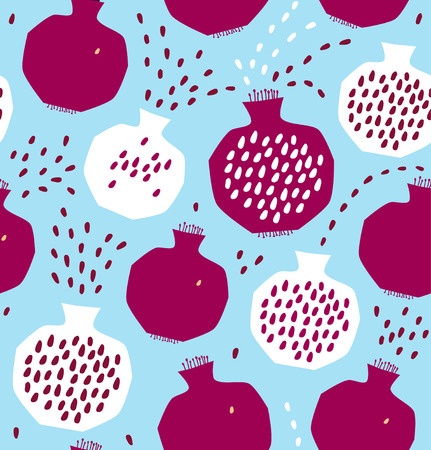 Seamless decorative pattern with pomegranates.
