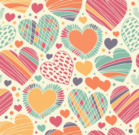 Colorful love ornamental pattern with hearts. Seamless scribble background. Bright fabric texture with many romantic details Vector