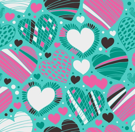 Colorful love ornamental pattern with hearts. Seamless scribble background. Doodle fabric texture with many romantic details