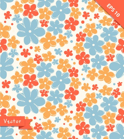 daisy flower: Seamless cute texture with flowers. Endless floral pattern. Seamless romantic background can be used for wallpapers, pattern fills, web page backgrounds, surface textures Illustration