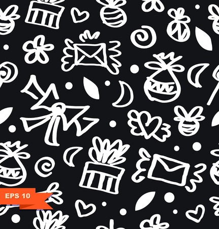 Decorative funny seamless background. Blsck and white contour drawing ornate pattern with gifts, letters, love symbols, bows and many cute details. Illustration
