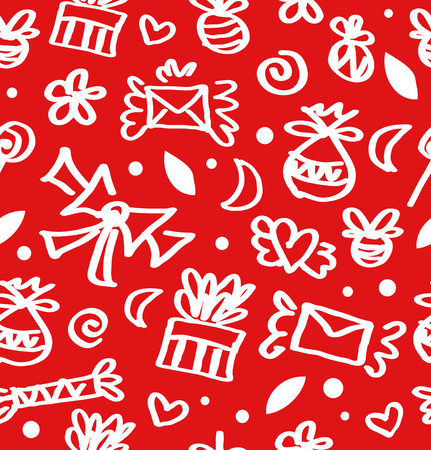 Decorative funny seamless pattern on red backdrop. Ornate pattern with gifts. letters, love symbols, bows and many cute details.