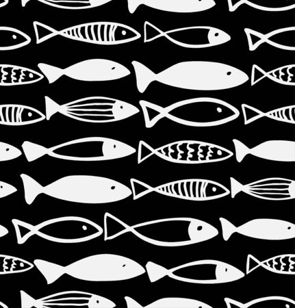 Decorative black and white pattern with fish. Seamless marine background. Grunge fabric texture Vector