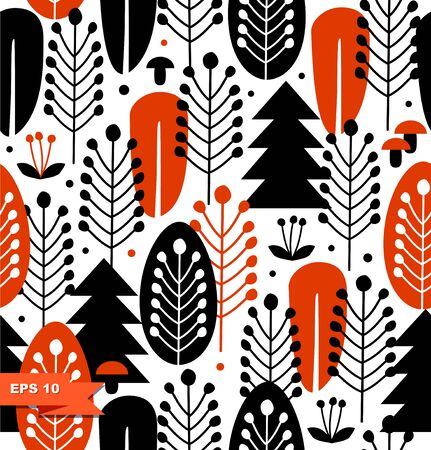 Seamless background with decorative trees. Forest decorative pattern