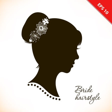 Bride hairstyle. Beautiful illustration with woman head silhouette. Vector isolated woman half face. Wedding symbol. Vintage romantic image of girl portrait. Beautiful lady coiffure Stock Illustratie